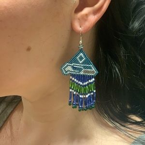 Seahawks beaded earrings